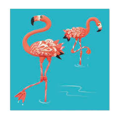 Super Cute Flamingo Design 10cm Mini Card