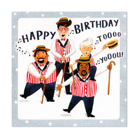 Gorgeous Glittery Birthday Barber Shop Quartet Greeting Card