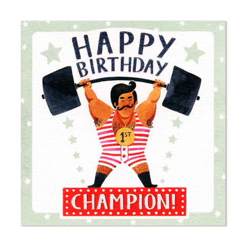 Gorgeous Glittery Birthday Champion Design Greeting Card