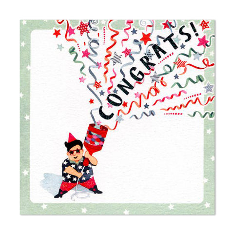 Gorgeous Glittery Party Popper Congrats Greeting Card