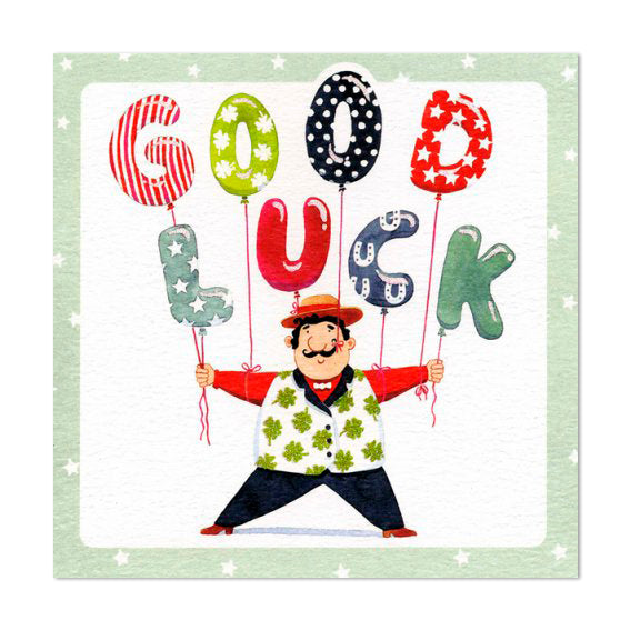 Gorgeous Glittery Good Luck Balloon Greeting Card