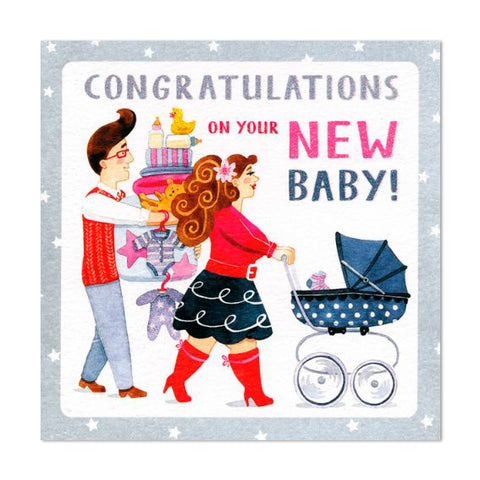 Gorgeous Glittery New Baby Congratulations Greeting Card
