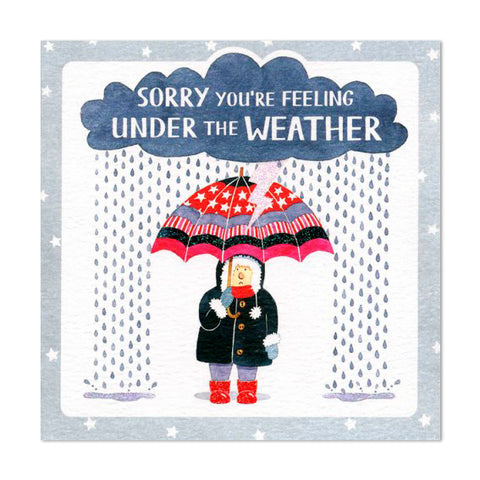 Gorgeous Glittery Under The Weather Get Well Greeting Card