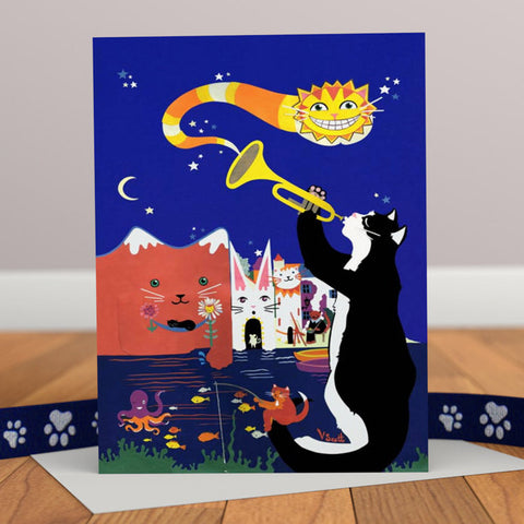Cats of Cadaques Jazz Inspired Greetings Card