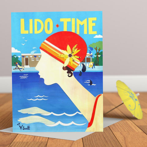 Lido Time Art Deco Vintage Greetings Card