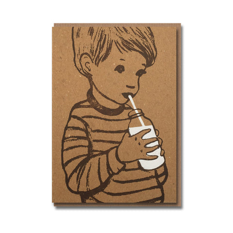 Milk Boy Design Retro Greetings Card