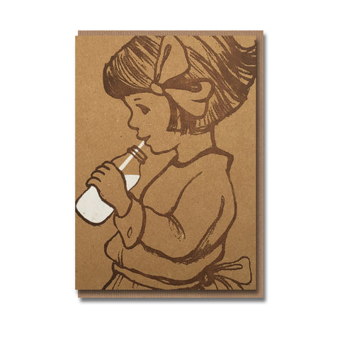 Milk Girl Design Retro Greetings Card
