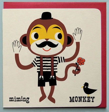 Miming Monkey Greetings Card