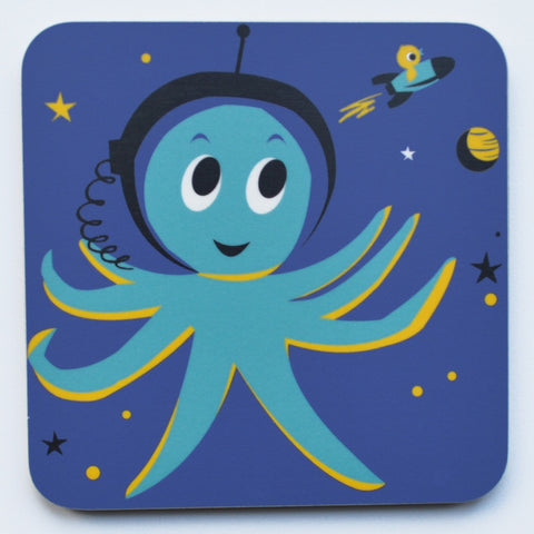 Outer Space Octopus Melamine Coaster