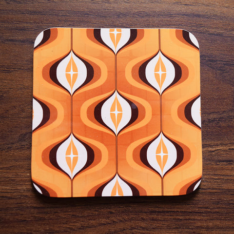 Orange Mid Century All Over Print Op Art Coaster