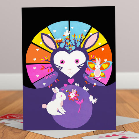 Rabbitland Retro Greetings Card