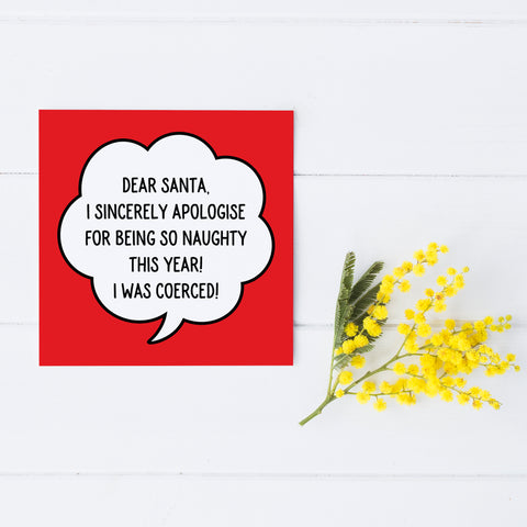 Dear Santa I Apologise Greetings Card