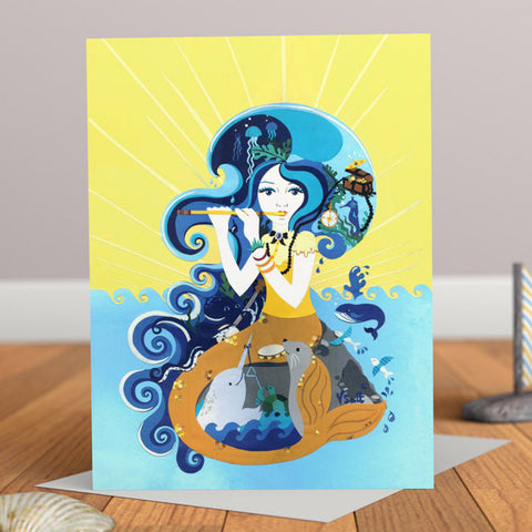 Song of the Siren Nautical Mermaid Greetings Card
