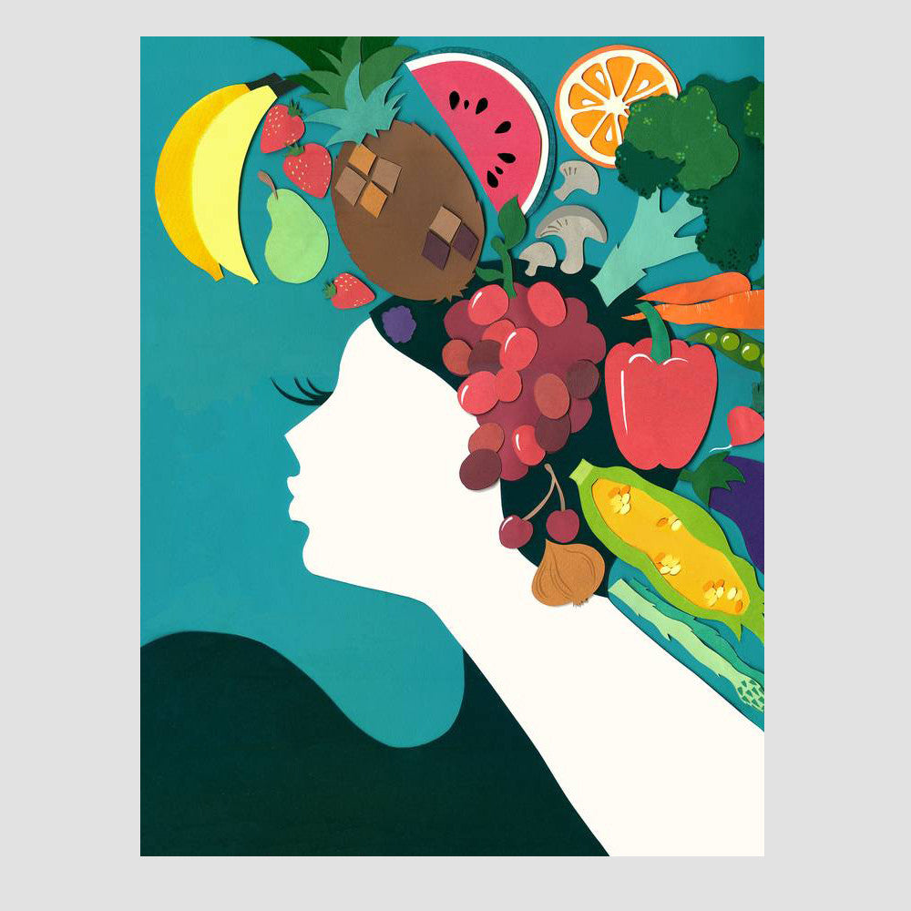 Fruity Lady Retro Greetings Card