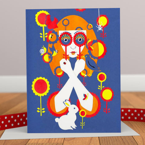 Through Rose Tinted Spectacles Retro Greetings Card