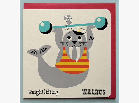 Weightlifting Walrus Greetings Card