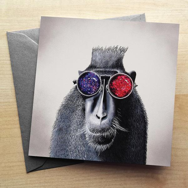 Hipster Monkey Greeting Card