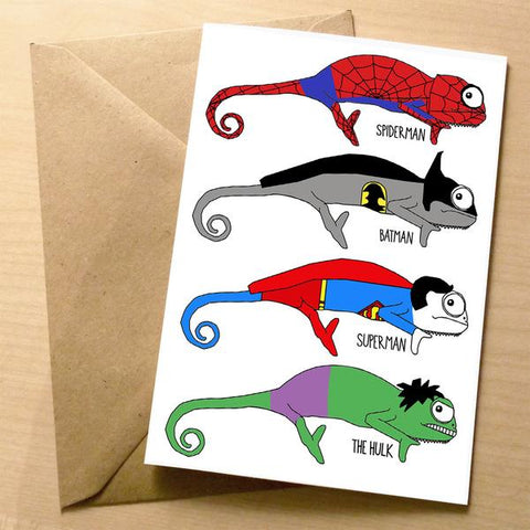 Chameleon Superhero Greeting Card