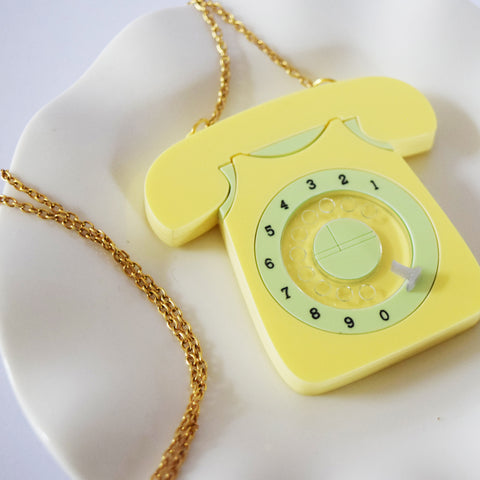 Daffodil Vintage 60s Style Rotary Telephone Pendant *EXCLUSIVE TO DOTTY'S DEN*