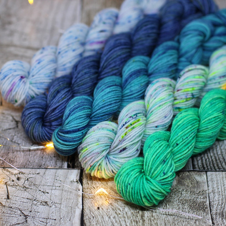 4ply Mini Skein Set - Blue and Green