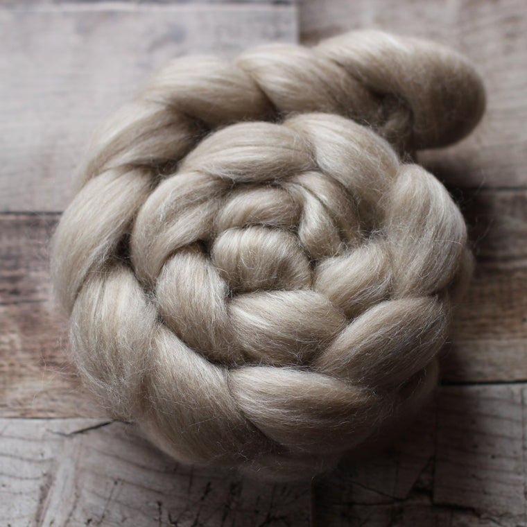 Aussie Bale Project Corriedale Wool / Tussah Silk Top / Roving - Undyed Moorit