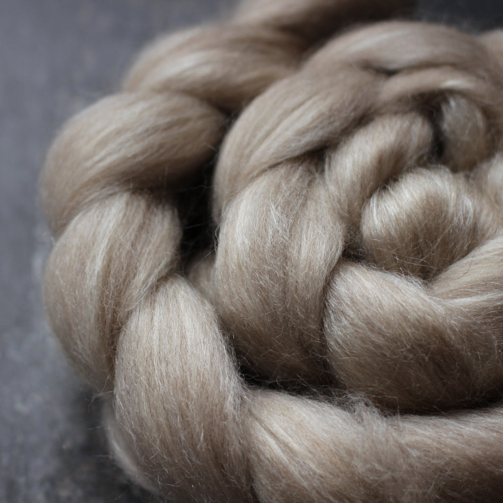 Australian Corriedale Wool / Tussah Silk Top / Roving - Undyed Moorit
