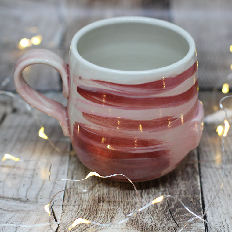 Pickle and Co Fibres Mug - Peach and Scarlet Stripes