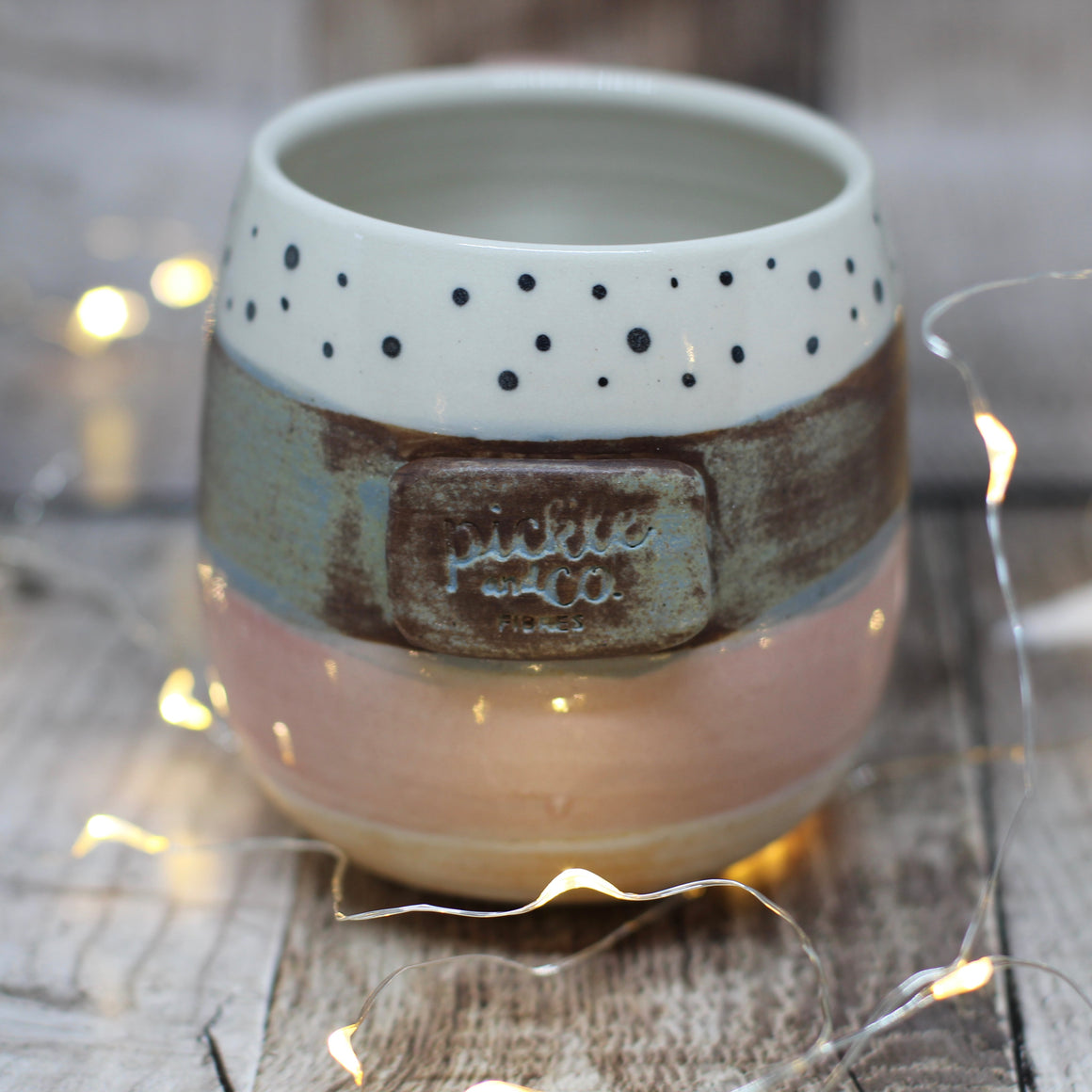 Pickle and Co Fibres Mug - Rusty Blue and Dots