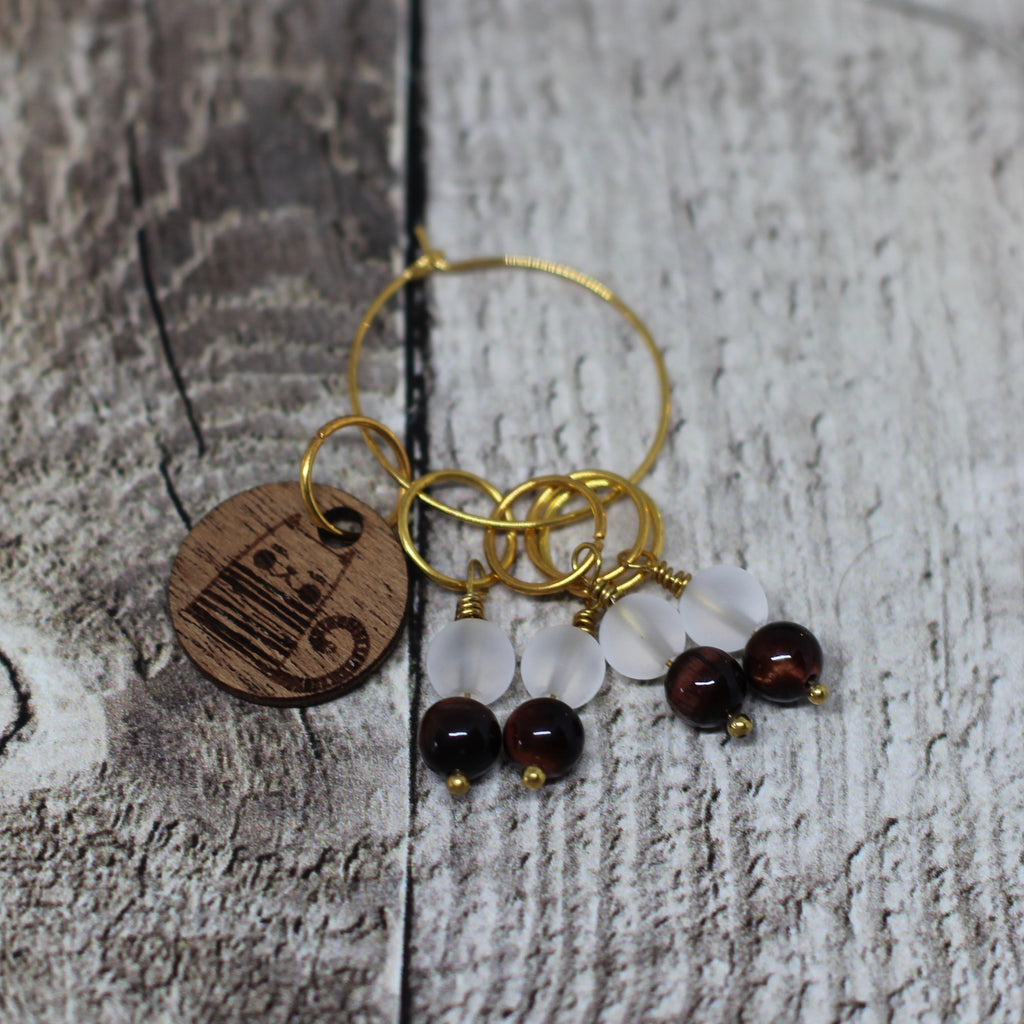 Handmade Stitch Markers - Quartz and Tiger Eye
