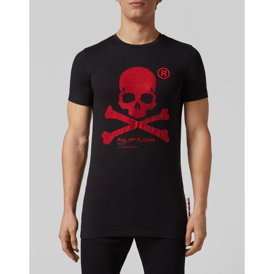 T-shirt Black Cut Round Neck Skull - Black / Red