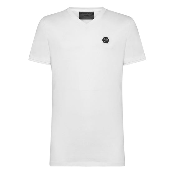 T-shirt Platinum Cut V-Neck Statement - White