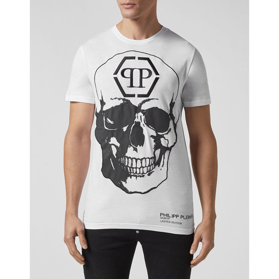 T-shirt Platinum Cut Round Neck Skull - White