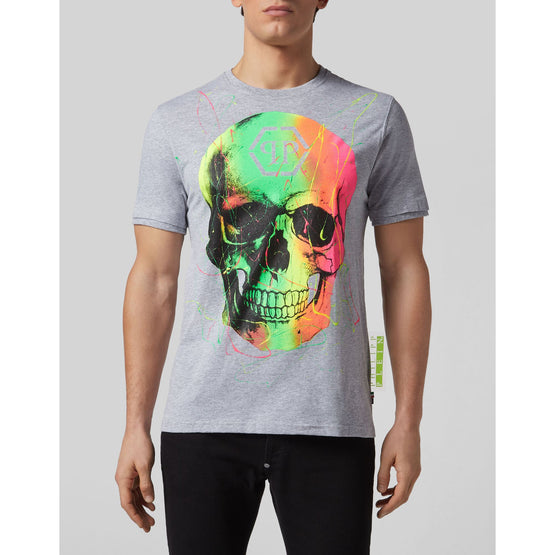 T-shirt Round Neck Skull - Grey