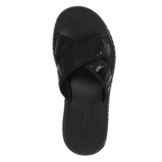 Sandals Flat Philipp Plein TM - Black / Black