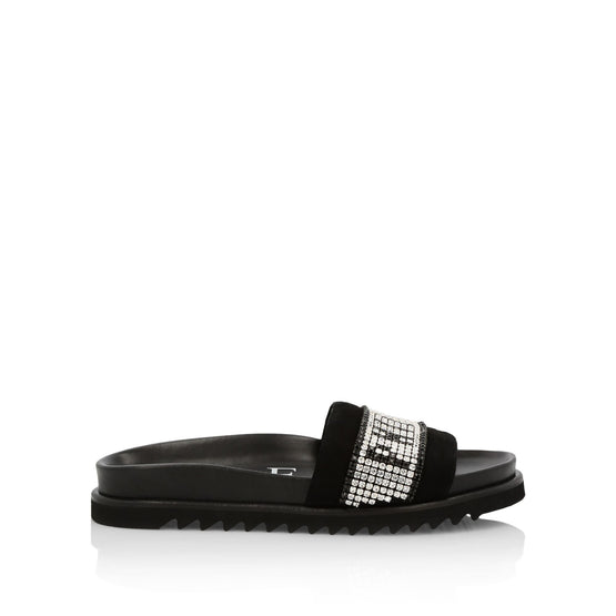 Sandals Flat Crystal Plein - Black
