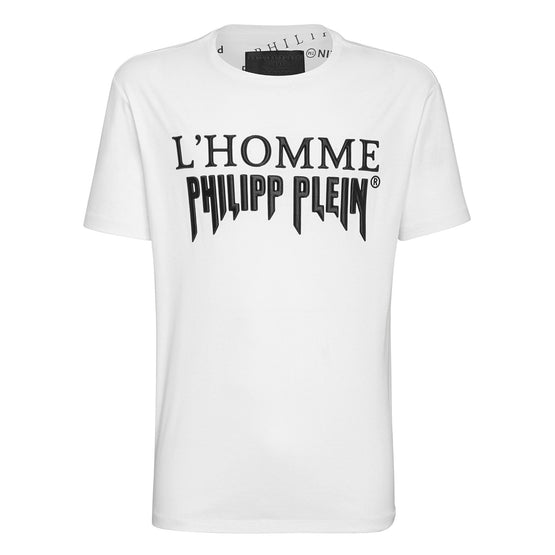 T-shirt Platinum Cut Round Neck Rock PP - White / Black