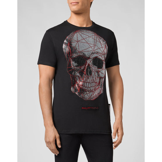 T-shirt Platinum Cut Round Neck Skull - Black / Red
