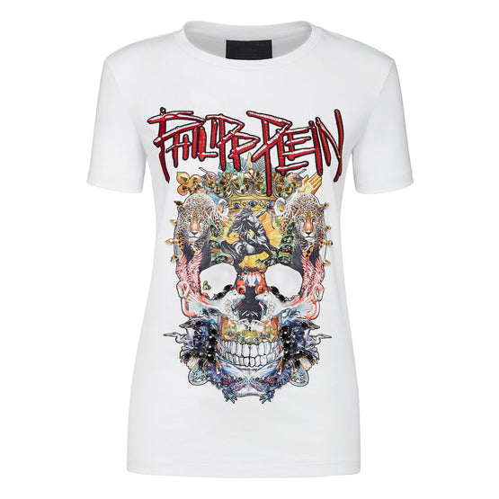T-shirt Round Neck Short Sleeve Skull - White