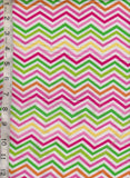 Multicolor Chevron on White Cotton Lycra Jersey Knit Fabric