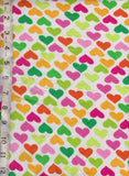 Multicolor Hearts on White Cotton Lycra Jersey Knit Fabric