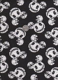 White Skeleton Mickey Mouse Inspired Heads on BLACK Cotton Lycra Jersey Knit Fabric