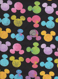 Colorful Mickey Mouse Inspired Heads on BLACK Cotton Lycra Jersey Knit Fabric