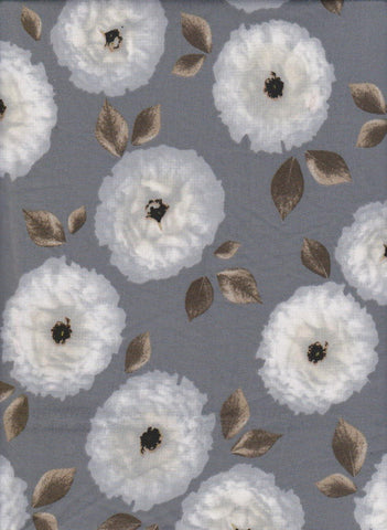 White Flowers on Silver Double Brushed Poly Lycra Jersey