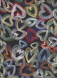 Colorful Mixed Hearts on Black Double Brushed Poly Lycra Jersey