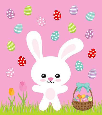 Bunny and Easter Eggs on Pink Organic Knit Fabric Panel