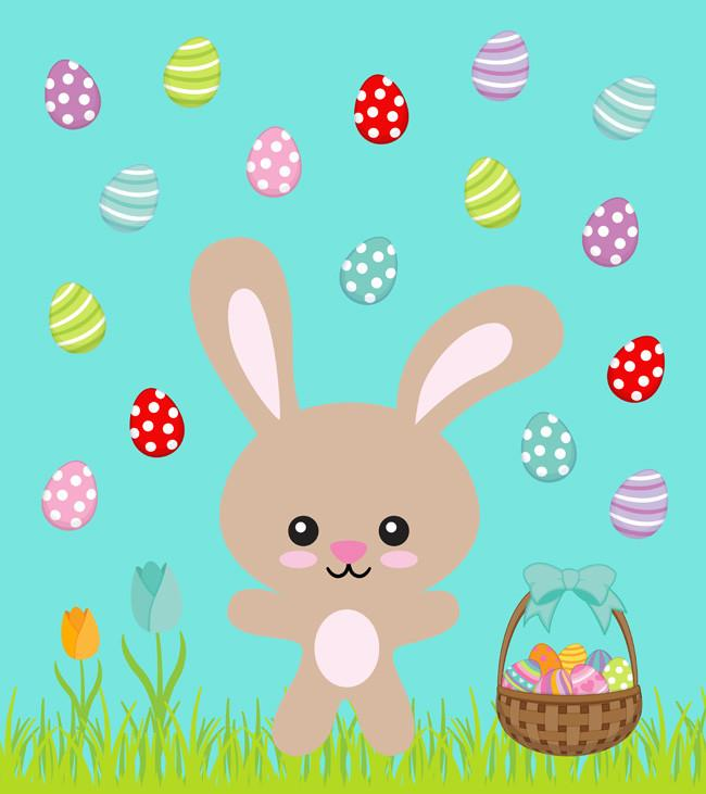 Bunny and Easter Eggs on Aqua Organic Knit Fabric Panel