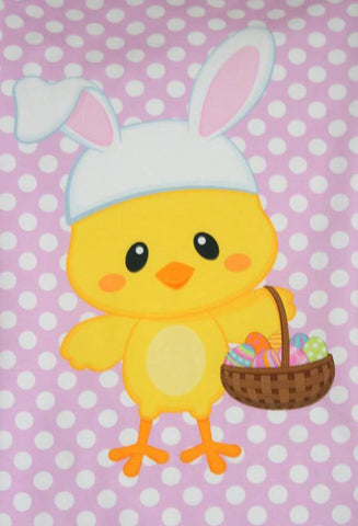 Easter Chick on Pink with White Polka Dots Organic Knit Fabric Panel