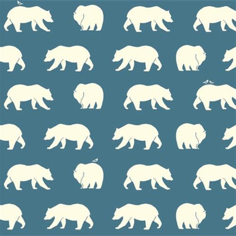 Birch Bear Hike Blue Organic Knit Fabric