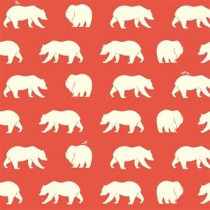 Birch Bear Hike Coral Organic Knit Fabric