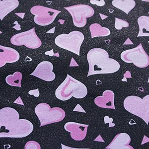 Black with Pink Hearts on Glittery Cotton Lycra Knit Jersey Fabric
